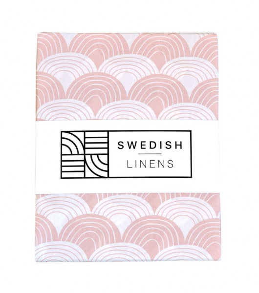 Swedish Linens - Spannbettlaken RAINBOWS Nudy Pink