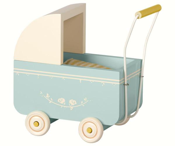 Maileg - Kinderwagen Micro blue 17,5 cm
