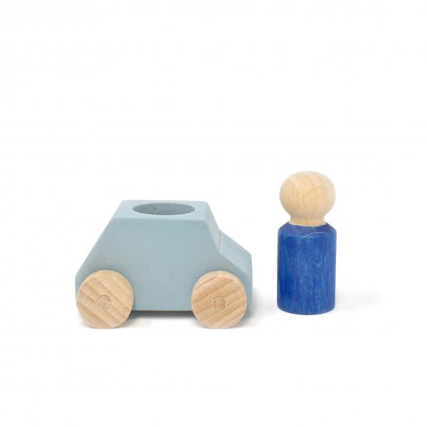 Lubulona - Holzauto mit Figur grau/blau