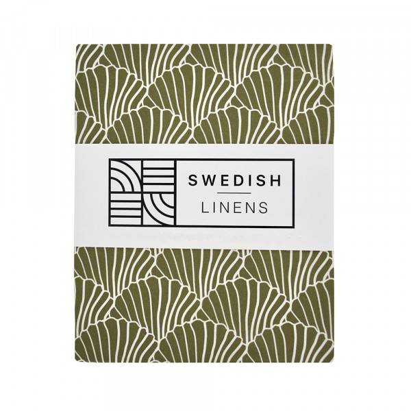Swedish Linens - Spannbettlaken SEASHELLS Olive green